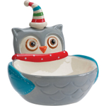 Boston Warehouse Snowy Owls Earthenware 2 Piece Dip Bowl and Spreader Set