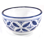 Sobremesa Fairtrade Fez Collection Handmade White and Blue Ceramic Serving Bowl