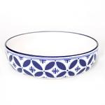 Sobremesa Fairtrade Fez Collection Handmade White and Blue Ceramic Pasta Bowl