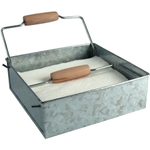 Artland Oasis Distressed Galvanized Steel Horizontal Napkin Holder with Wood Handles