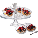 Artland Orbit 15 Piece Glass and Stainless Steel Dessert Set