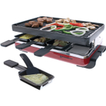 Swissmar 8 Person Red Electric Raclette Grill with Reversible Cast Iron Grill Plate