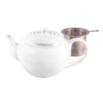 Le Creuset White Stoneware Teapot with Stainless Steel Infuser, 1 Quart