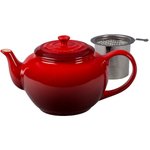 Le Creuset Cherry Stoneware Teapot with Stainless Steel Infuser, 1 Quart