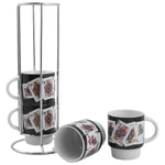 Poker Queen Playing Cards Ceramic Stacking Espresso Cup, Set of 4
