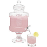 Home Essentials Glass Pedestaled Beverage Dispenser with Ice Chamber, 1.3 Gallon