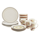 Rachael Ray Circles and Dots 16 Piece Stoneware Dinnerware Set, Service for 4