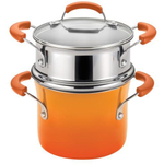 Rachael Ray Hard Enamel Orange Nonstick Covered Steamer Set, 3 Quart