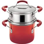 Rachael Ray Hard Enamel Red Nonstick Covered Steamer Set, 3 Quart