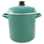 Cinsa Medium Gauge Hunter Green Enameled Steel Stock Pot with Lid, 8 Quart