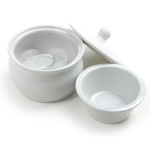 Norpro White Stoneware Dip Warming Server, 1.5 Cup