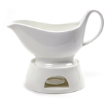Norpro Porcelain Gravy Boat with Stand and Candle