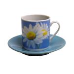 Antonio Porcelain Blue Daisy Espresso Cup and Saucer Set, Service for 6
