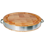 John Boos Round Chopping Block with Stainless Steel Band and Handles, 15.5 Inch