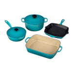 Le Creuset 6 Piece Signature Caribbean Enameled Cast Iron Cookware Set