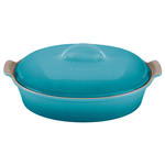 Le Creuset Heritage Caribbean Stoneware Covered Oval Casserole Dish, 4 Quart