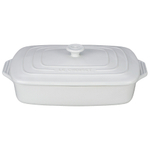 Le Creuset White Stoneware Covered Rectangular Casserole Dish, 3.5 Quart