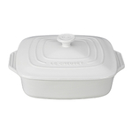 Le Creuset White Stoneware Covered Square Casserole Dish, 2.75 Quart