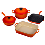 Le Creuset 6 Piece Signature Flame Enameled Cast Iron Cookware Set