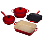 Le Creuset 6 Piece Signature Cherry Enameled Cast Iron Cookware Set