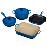 Le Creuset 6 Piece Signature Marseille Blue Cast Iron Cookware Set