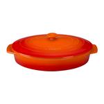 Le Creuset Flame Stoneware Covered Oval Casserole Dish, 3.75 Quart