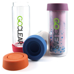 GoClear Watermelon Insulated Double Walled Glass Bottle with Silicone Coaster Lid, 18 Ounce