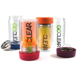 GoClear Tangerine Double Walled Glass Tumbler with Silicone Coaster Lid and Tea Infuser, 14 Ounce