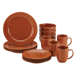 Rachael Ray Cucina 16 Piece Pumpkin Orange Stoneware Dinnerware Set