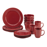 Rachael Ray Cucina 16 Piece Cranberry Red Stoneware Dinnerware Set