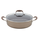 Anolon Advanced Bronze Covered Braiser with Rack, 5.5 Quart