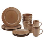Rachael Ray Cucina 16 Piece Mushroom Brown Stoneware Dinnerware Set