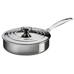 Le Creuset Tri-Ply Stainless Steel Saute Pan with Lid, 3 Quart