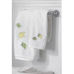 Turtle Bay White Embroidered Washcloth