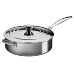 Le Creuset Tri-Ply Stainless Steel Saute Pan with Lid, 4.5 Quart