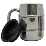 Eco Vessel Stainless Steel Double Barrel Beer Mug with Lid, 16.9 Ounce