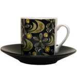 Italian Black & Gold Porcelain Espresso Cup & Saucer Set, Service for 6