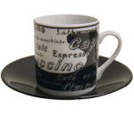 Italian Black & White Porcelain Espresso Cup & Saucer Set, Service for 6