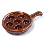 Browne Basics Brown Ceramic Escargot Plate, 5 Inch