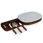 Fabio Viviani Heritage Collection Carrara Marble Top Acacia Oval Cheese Board with 3 Piece Tool Set