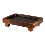 Fabio Viviani Heritage Collection Small Raccolta Acacia Serving Pedestal with Cast Iron Inlay