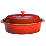 Le Creuset Cherry Stoneware Replacement Lid for 5.75 Quart Oval Casserole with Lid