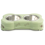 Loving Pets Dolce Pesto and Stainless Steel Double Pet Diner
