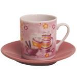 Italian Pink Porcelain Espresso Cup & Saucer Set, Service for 6