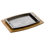 Lodge 2 Piece Chef's Cast Iron Griddle and Wood Platter Set