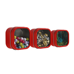 Three by Three Hold Up Red Tin Storage Bin, Set of 3