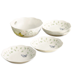 Lenox Butterfly Meadow Porcelain 7 Piece Pasta and Salad Set