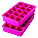 Tovolo Perfect Cube Fuchsia Silicone Ice Tray, Set of 2