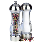 Trudeau Stainless Steel 7 Inch Salt Shaker and Pepper Mill Set