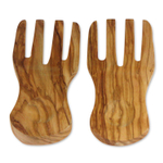 Berard Curved Olive Wood 2 Piece 7.7 Inch Server Hands Set